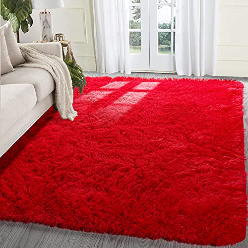 BSTLUV Extra Soft Fluffy Rugs for Bedroom, 5x7 Rug, Large Shag Area Rugs for Living Room, Nursery, Boys, Girls Room Decor, Kids Rug, Plush Rug, Red Carpet, Fuzzy Rug, Dorm Rug, Thick Throw Rug is $23.99 (40% off)