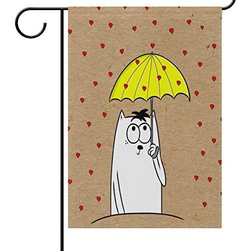 Chat Blanc Parapluie pluie Jardin Drapeau Maison Banner 30,5 x 45,7 cm, Jaune Cœur Rouge Petite Mini décoratifs double face Welcome Yard drapeaux pour Vacances fête de mariage Maison en plein air extérieur Décor, Tissu, multicolore, 12x18(in)