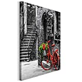 Revolio 50x50 cm Leinwandbild Wandbilder Wohnzimmer Modern Kunstdruck Design Wanddekoration Deko Bild auf Leinwand Bilder 1 Teilig - Kontrast Fahrrad Treppe rot Schwarz und weiß