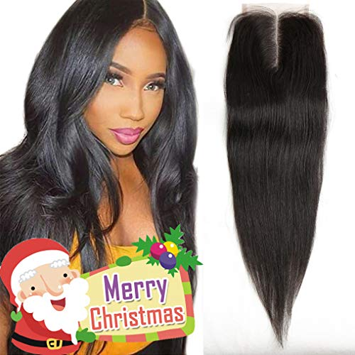 12 Inch Lace Closure Straight 4x4 130% Density 8A Unprocessed Brazilian Virgin Remy Human Hair Lace Front Closure No Bleached Knots Closure