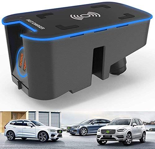 WEIFLY Cargador inalámbrico rápido de 15W para Volvo XC90 XC60 V90 S90 S60 2016-2021 Consola Central, con 2 USB QC3.0 de 18W, para iPhone/Samsung