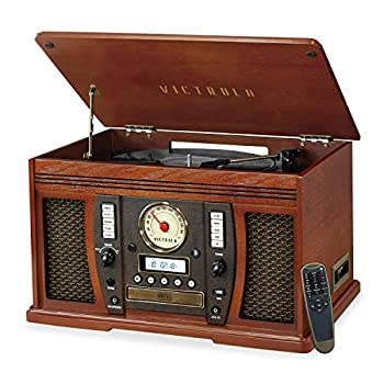 Victrola Aviator 8-in-1 Bluetooth Record Player & Multimedia Center with Built-in Stereo Speakers - 3-Speed Turntable Vinyl to MP3 Recording Wireless Music Streaming Mahogany