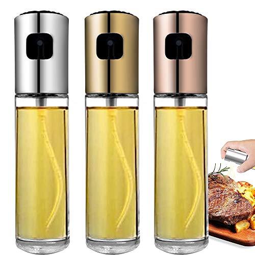 moonmoonlala Öl Sprühflasche Set zum Kochen, 3 Stück lebensmittelechtes Grillen Olivenöl Glasflasche 100 ml zum Kochen, Brotbacken, Grillen und Küche