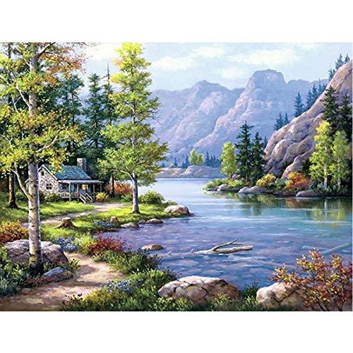 YXLY Natürliche Landschaft River House-1000-Teiliges Puzzle Für Erwachsene Und Kinder - Holzpuzzle Life Art Pattern In Hand Interaktive Familienspiele, Großartige Urlaubsfreizeit