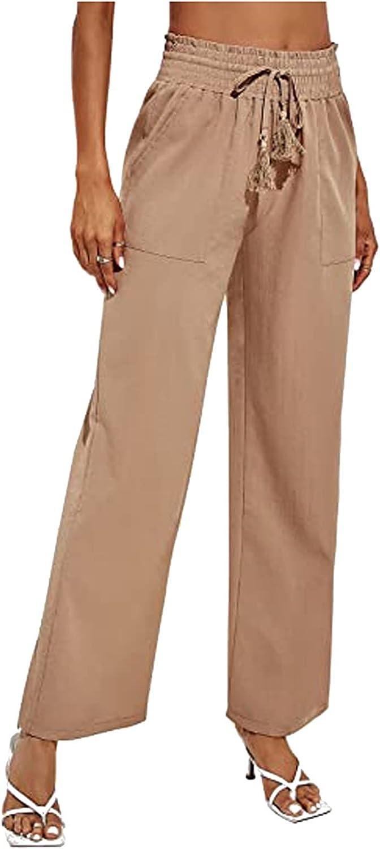 Goddessvan Women's Cotton Linen Pants Drawstring Elastic Waist Side Pockets High Rise Casual Loose Trousers Pants