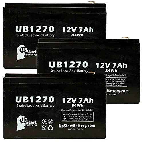 3 Pack Replacement for Best Technologies SPS450VA Battery - Replacement UB1270 Universal Sealed Lead Acid Battery (12V, 7Ah, 7000mAh, F1 Terminal, AGM, SLA) - Includes 6 F1 to F2 Terminal Adapters