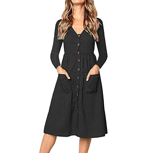 7b9e5e8ad9e4 Casual Midi Dresses for Women V Neck T Shirt Dress Long Sleeve A-Line Swing