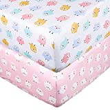 Crib Sheet Set UOMNY 100% Natural Cotton Fitted Crib Sheets Baby Sheet Set Fitted Standard Crib Sheet Nursery Bedding Sheet Crib Mattress Sheets for Boys and Girls 2 Pack owI Toddler Sheet
