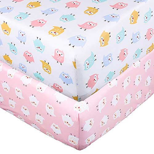 UOMNY Crib Sheet Set 100% Natural Cotton Fitted Crib Sheets Baby Sheet Set Fitted Standard Crib Sheet Nursery Bedding Sheet Crib Mattress Sheets for Boys and Girls 2 Pack owI Toddler Sheet