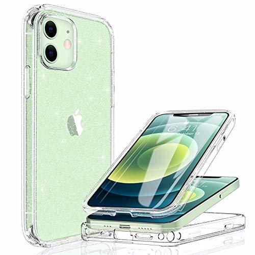 Miracase Transparent Glitzer Hülle Kompatibel mit iPhone 12/12 Pro (6.1 Zoll), 360 Grad Ganzkörper Schutzhülle mit eingebauter Panzerglas und Harte-PC Rückseite, Stoßfeste Fullbody Handyhülle