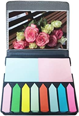 Pink White Flowers Beautiful Bench Self Stick Note Color Page Marker Box