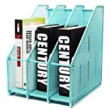 EXERZ Revistero archivador triple de malla metálica/Archivadores de revistas/Estante para escritorio- 3 Compartimentos para Organizador Archivo Documento/Cuadernos/Carpetas (Turquesa)