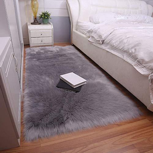 Cumay Faux Lammfell Schaffell Teppich (70x135cm) - Geeignet für Wohnzimmer Teppiche Flauschig Lange Haare Fell Optik Gemütliches Schaffell Bettvorleger Sofa Matte (Grau, 70x135cm)