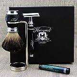 Maquinilla de afeitar y maquinilla de afeitar para maquinilla de afeitar y brocha de afeitar (3 unidades), color negro