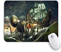 ECOMAOMI 可愛いマウスパッド 海の怪物、巨大なタコの攻撃船 滑り止めゴムバッキングマウスパッドノートブックコンピュータマウスマット
