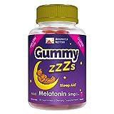 Gummy ZZZs Melatonin Sleep Aid, Gelatin-Free, Drug-Free, Vegetarian, Vegan-Friendly, Gluten-Free, Delicious Strawberry Flavor, Kosher-Friendly, For Adults, Men, Women, 90 Count (45 Days)