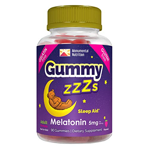 Gummy ZZZs Melatonin Sleep Aid, Gelatin-Free, Drug-Free, Vegetarian, Vegan-Friendly, Gluten-Free, Delicious Strawberry Flavor, Kosher/Halal-Friendly, For Adults, Men, Women, 90 Count (45 Days)