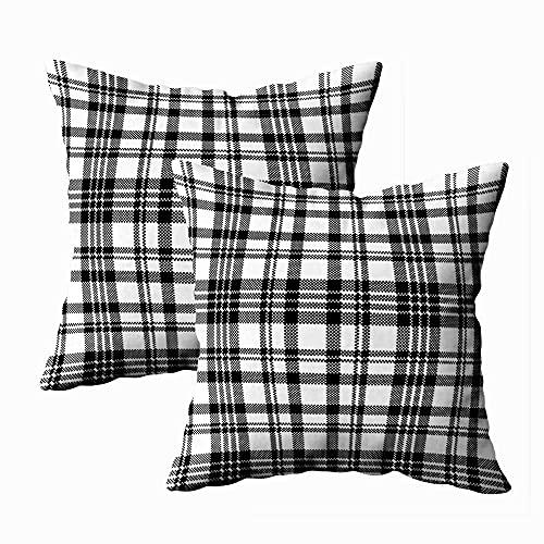 Funda de almohada Navidad, paquete de 2 Fundas de almohada Feliz Navidad Decoración Patrón de cuadros de píxeles de cuadros abstractos Ilustración en blanco y negro Cuadrado Impresión a doble cara