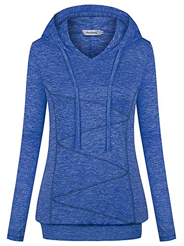Ninedaily Exercise Shirts for Women,Athletic Hoodies Winter Warm Breathable Stretchy Tshirts Fall Outfits/Spring Flexible Trampoline Junior's Young Teen Girls Adult Gym Basic Going Out Tops,Blue,L