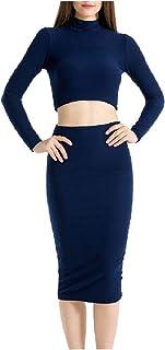 YAXINHE 女性タートルネックロングスリーブロングスカートは、2ピースドレスドレスを設定