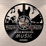 Where Words Fail Music Speaks Cita musical Arte de pared Vinilo Record Reloj de pared Guitarra decorativo LP Rock n Roll Music Gift