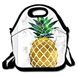 Unique Insulated Lunch Bag Tote Reusable Waterproof School Picnic Carrying Gourmet Lunchbox Container Organizer For Women, Men, Adults, Kids, Girls and Boys - Rose Gold Pineapple Pattern