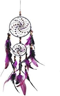 "EKEYUP Dream Catcher, Handmade Purple Circular Net Wall Hanging Ornament Decorations for Kids Girls Home Bedroom Car -4.3"" Diameter, 21.65"" Long"