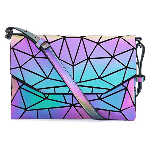 Geometric Luminous Crossbody Bags for Women Holographic Reflective Handbags Shoulder bags