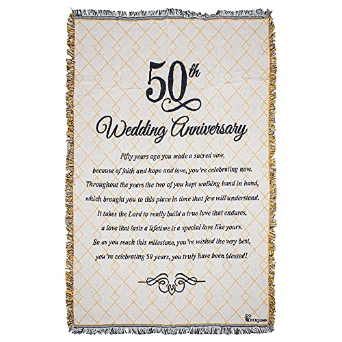 Dicksons 50th Wedding Anniversary Poem 48 x 68 All Cotton Tapestry Throw Blanket
