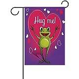 fingww Fahne Cartoon Frosch Mit Umarmung Garten Flagge Haus Banner Zweiseitig Willkommen Wohnkultur Hof Dekoration Flagge Hochzeit 32X48 cm