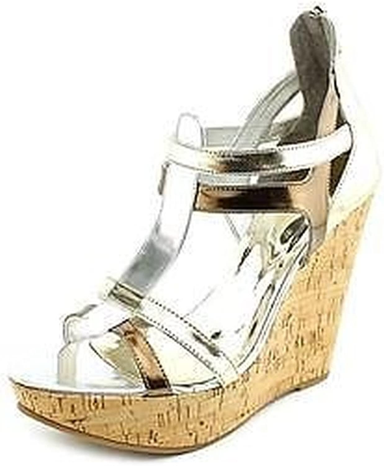 Carlos Santana Betzy Womens Size 10 Silver Wedge Sandals shoes