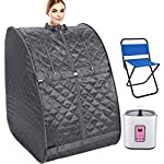 Oversized Portable Steam Sauna, Home Steam Infrared Sauna Tent for Weight Loss, Detox & Relaxation at Home, Chair Included (Silver)