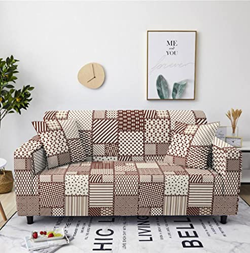 Sofa Cover Stretch Elastic Brown Plaid Pattern Printed Sofa Slipcover 3 Seater Polyester Spandex Furniture Decorative Soft Loveseat Couch Covers Chair Protector for Pets Kids Sofa Covers