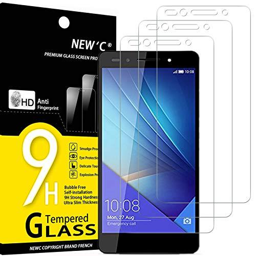 NEW'C 3 Stück, Schutzfolie Panzerglas für Honor 7, Frei von Kratzern, 9H Festigkeit, HD Bildschirmschutzfolie, 0.33mm Ultra-klar, Ultrawiderstandsfähig