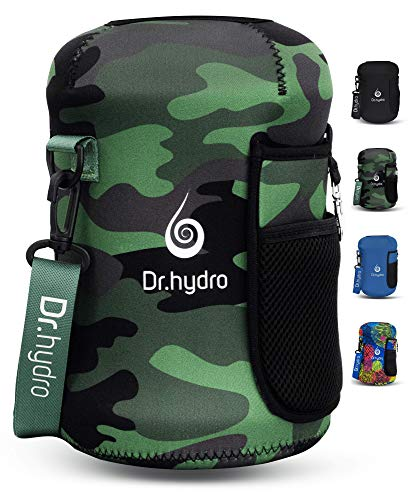 DR.HYDRO 3.2L Water Bottle One Gallon Sleeve Jug Insulated Neoprene Cover Large 108oz Holder with Shoulder Strap for Gym and Workout (Camo)