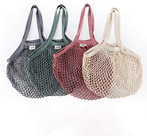 ilauke 5 Stück Einkaufstasche Netz Wiederverwendbar Einkaufstasche Mesh Baumwolle Einkaufen, Cotton Einkaufsnetz Netzbeutel mit Langer Griff für Lager Obst Gemüse Markt/Lebensmittel einkaufen