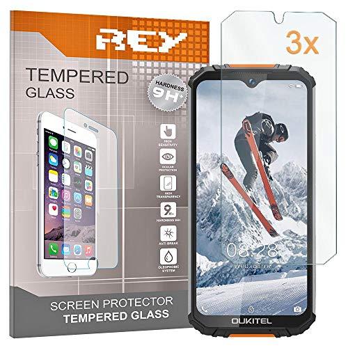 REY Pack 3X Panzerglas Schutzfolie für OUKITEL WP6, Bildschirmschutzfolie 9H+ Festigkeit, Anti-Kratzen, Anti-Öl, Anti-Bläschen