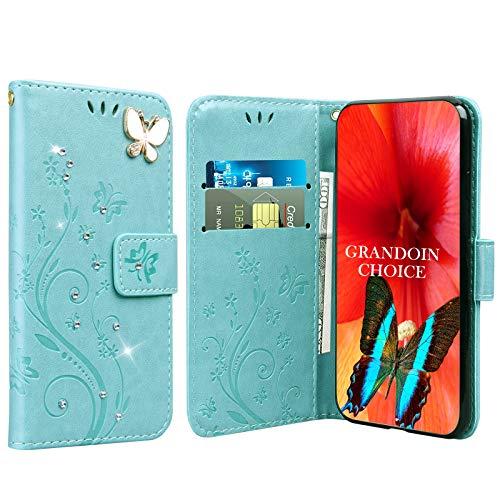 GrandoinChoice für Huawei Honor Play 8A / Y6 Pro 2019, Bling Glitzer Handyhülle im Brieftasche-Stil [Diamant-Serie] PU Leder Ledercase Flip Tasche Wallet Tasche Handytasche Cover Etui Hülle (Hellgrün)