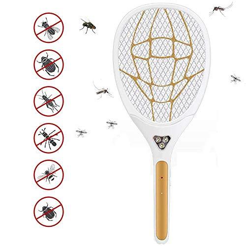XHCP Elektrische , Mücken , Klatsche Elektrische Fliegenklatsche Mückenschutz- und Insektenwanzenvernichter, USB wiederaufladbar, für Indoor-Outdoor-Reisecampings Gartenarbeit, Gold