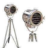 Beautiful Nautical Full Steel Searchlight Spotlight Tripod Studio Floor Lamp Chrome/Silver Finish Home Decor