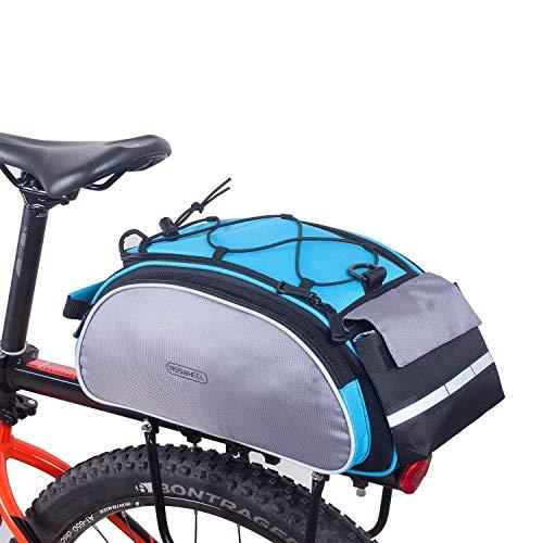 DCCN Gepäckträgertasche 20L Fahrradtasche Packtasche mit Schultergurt und Regenhülle - Blau