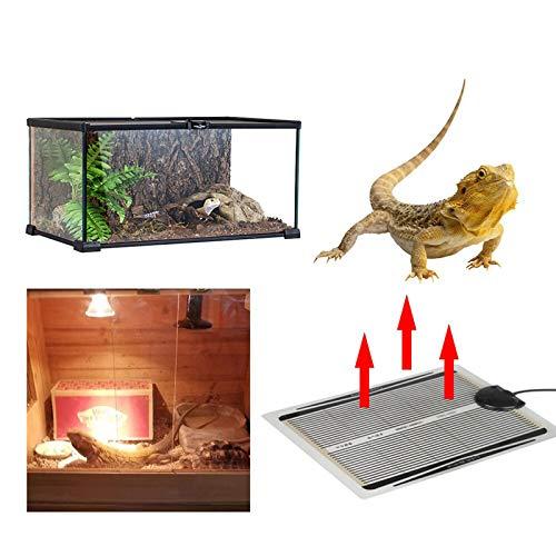 XIJING 220V Reptilienwärmematte/einstellbare Temperatur Haustierheizkissen unter Terrarium Tankheizung für Tropische/gemäßigte Reptilien, 35W