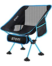 Draagbare campingstoel compacte lichtgewicht klapstoelen Heavy Duty 150 kg, ultralichte opvouwbare rugzakstoel met zandhoes en draagtas voor outdoor strand picknick wandelen