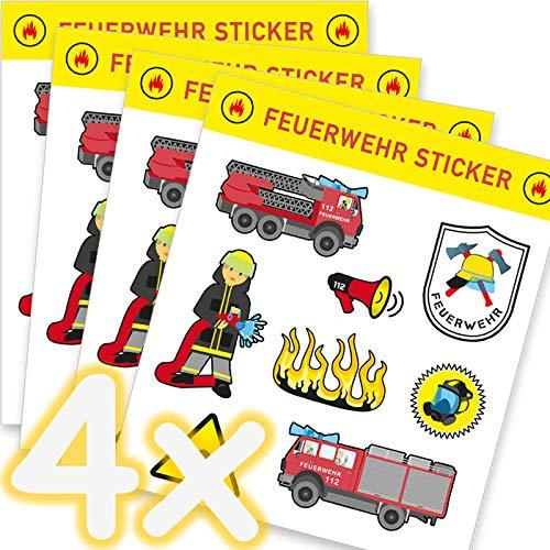 Neu: 32-teiliges Sticker-Set * Feuerwehr * als Mitgebsel, als Geschenk oder zum Basteln | Feuerwehrauto Aufkleber Bilder Kinder Kindergeburtstag Geburtstag