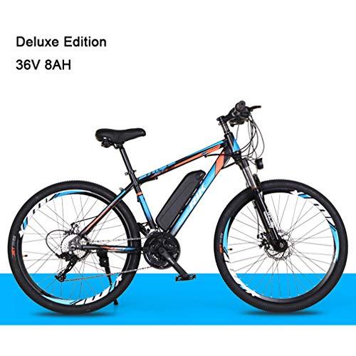 NYPB Elektrofahrrad Mountainbike 26 Zoll, E Bike 35 km/h Max 50 km Laufleistung 36V 8AH Lithiumbatterie mit Großer Kapazität, Doppelscheibenbremse 21-Gang Getriebe,Black Blue
