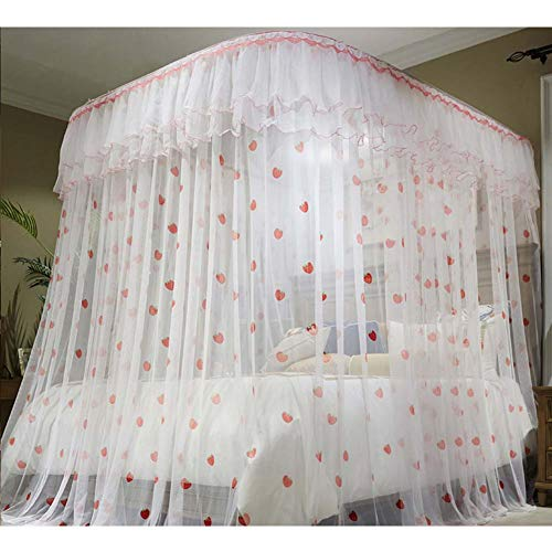 Save %41 Now! Pastoral Bed Canopy Curtain,4 Corner Elegant Canopy Net,Princess Lace Netting Curtain ...
