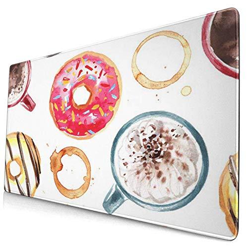 Gaming-Mauspad, Premium-strukturierte Mauspad-Pads, süßes Mousepad für Spieler, Büro und Zuhause Süßes buntes Farbmuster von Süßigkeiten-Aquarell-Donuts Makronen-Kaffee-Lebensmittel Grünes Wasser-Aqua