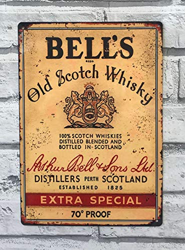 Ainiteey Tin Sign Bell's Old Whisky Metal Advertising Sign Bar Pub Man Cave Shed 20 x 30 cm