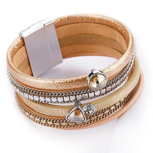 HMANE Pulseras de Cuero Multicapa para Mujer, Pulseras y brazaletes Anchos de Cristal con Diamantes de imitación de Moda para Mujer, joyería Femenina
