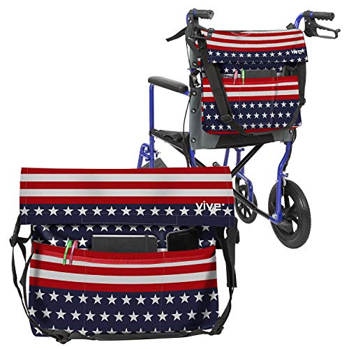 Vive Wheelchair Bag  Wheel Chair Storage Tote Accessory for Carrying Loose Items and Accessories  Travel Messenger Backpack for Men Women Handicap Elderly  Accessible Pouch Pockets Americana